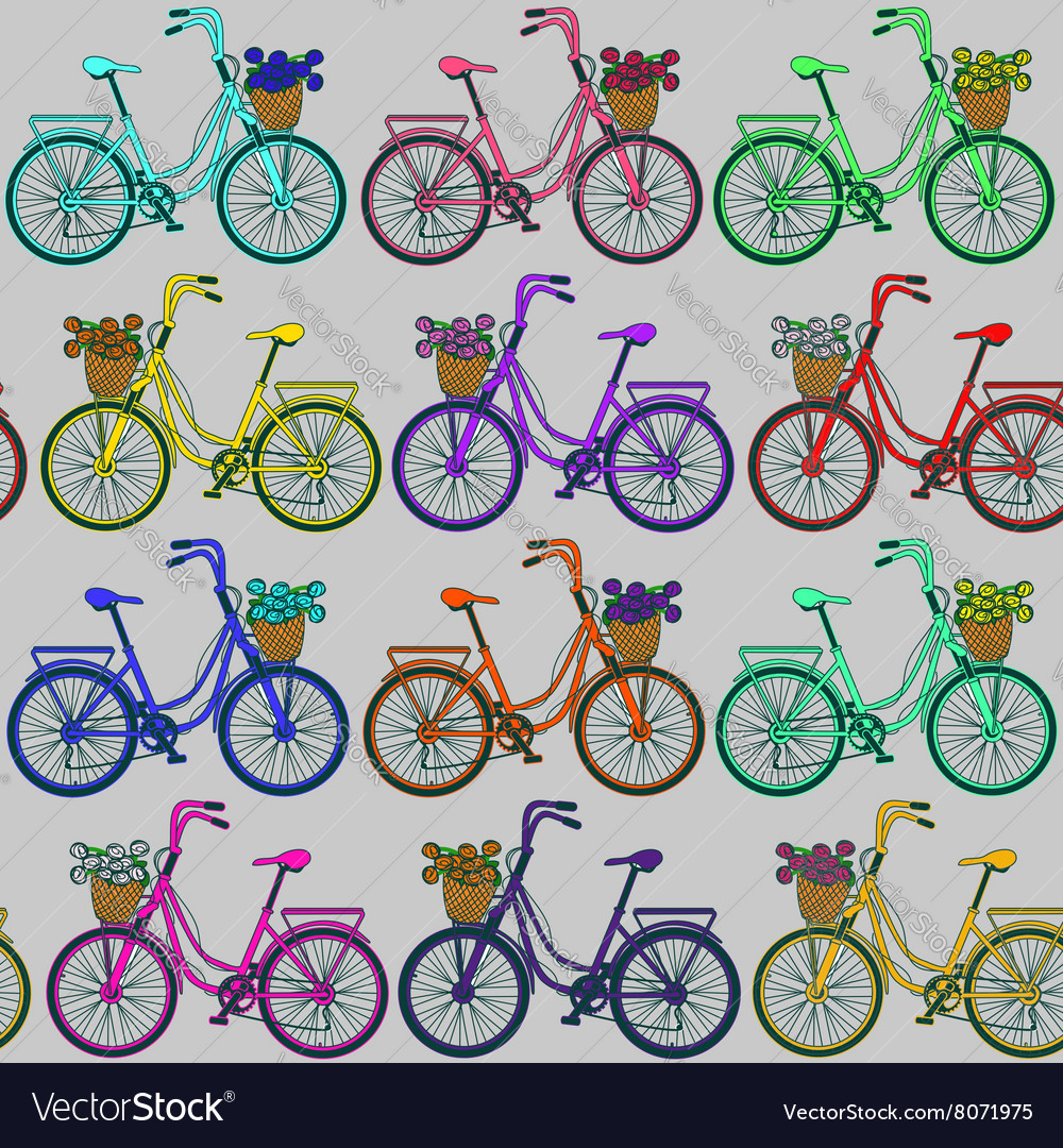 Seamless pattern of bicycles