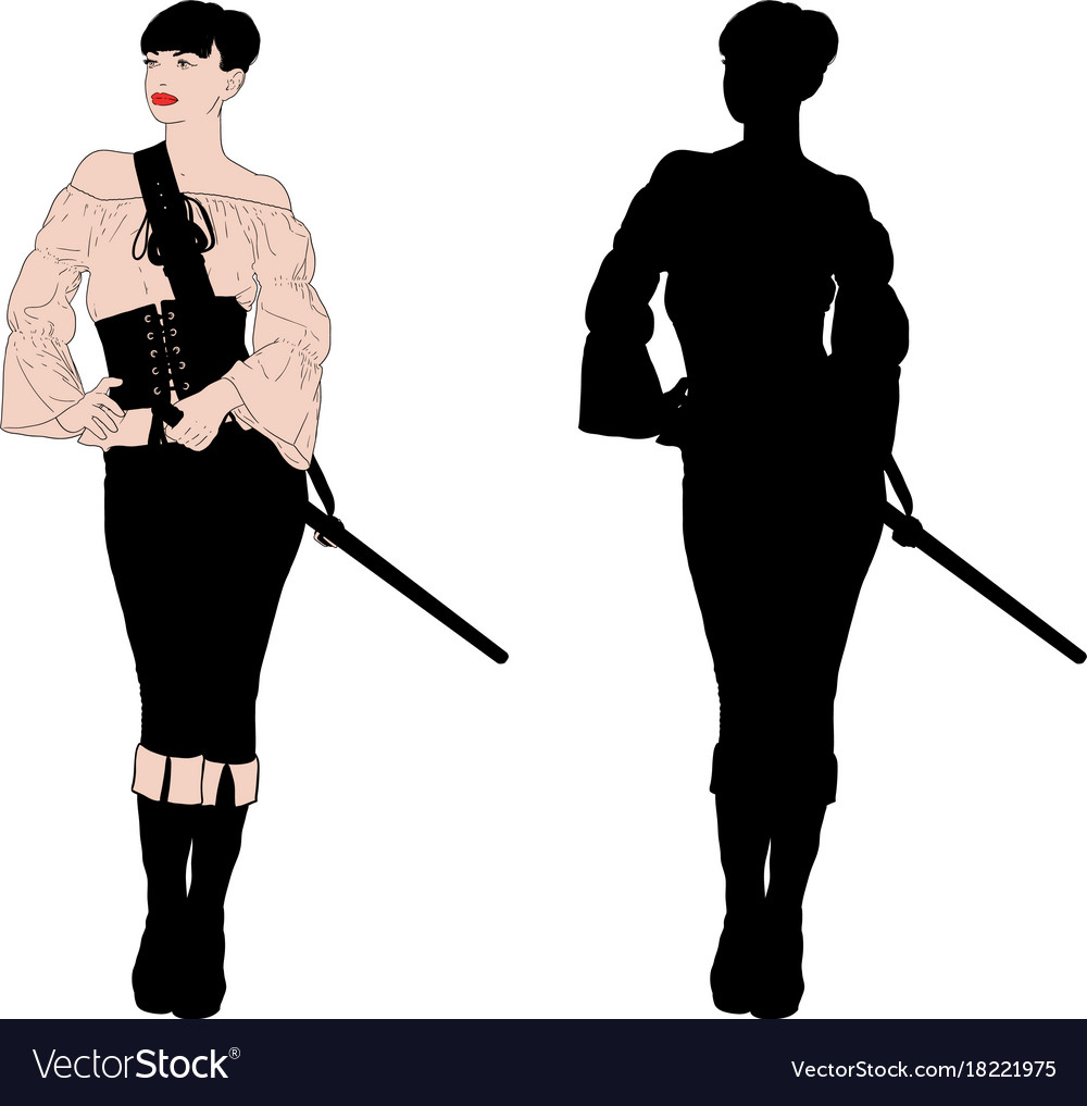 Female pirate clothe vector images 39