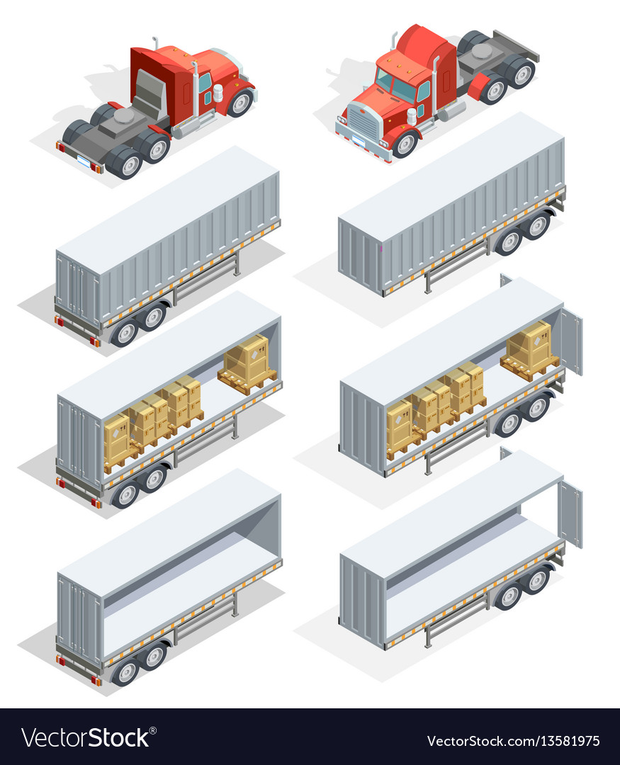 Truck isometric icon set vector image