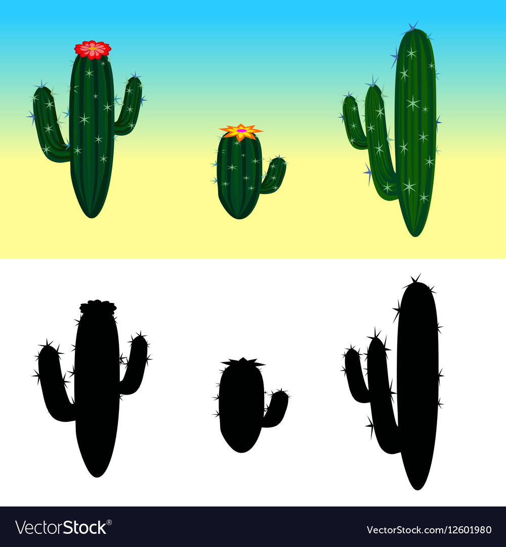 A cartoon cactus set with flowers and vector image
