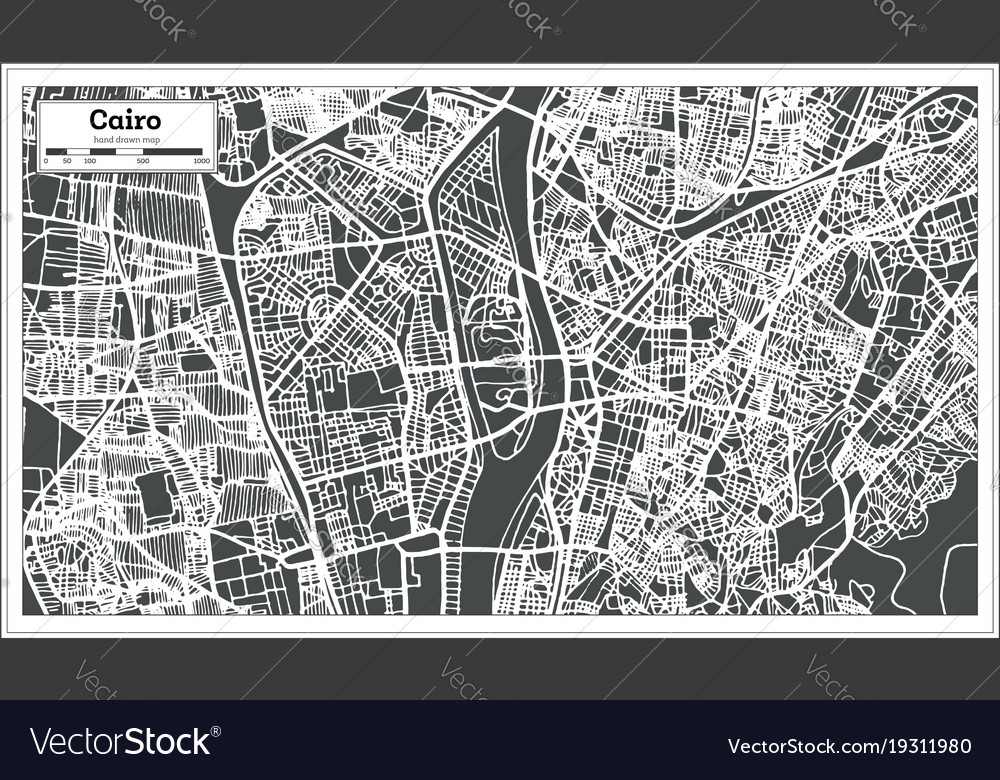 Cairo egypt city map in retro style Royalty Free Vector