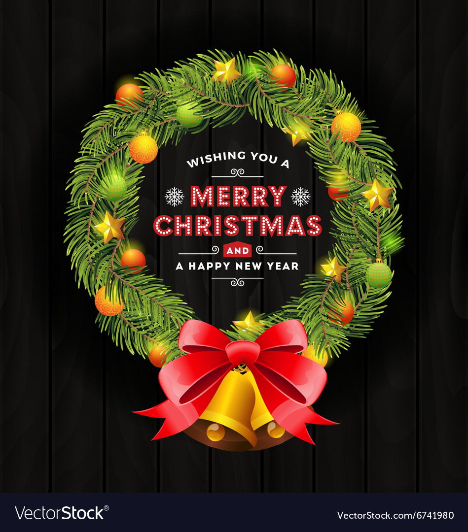 Christmas wreath frame and typography design