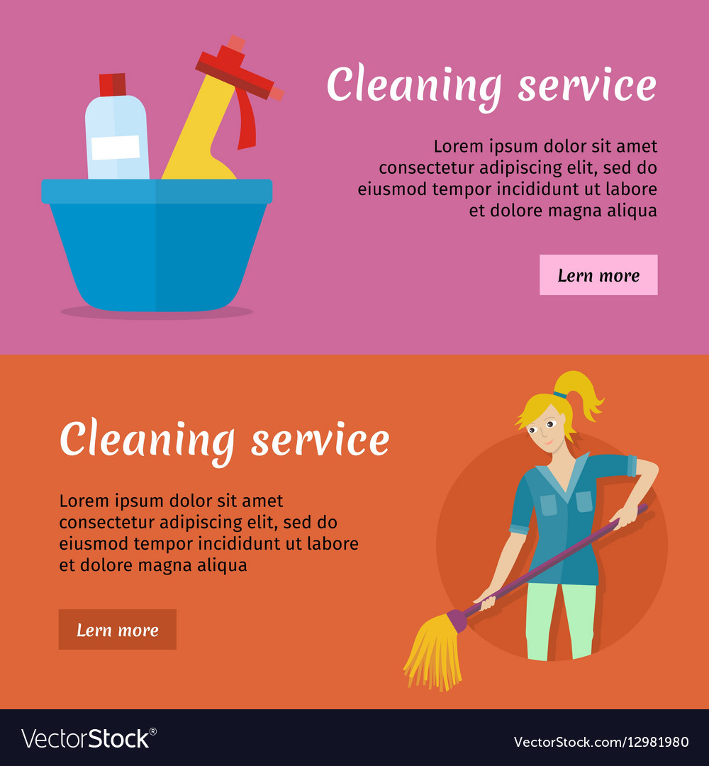 Cleaning Service Advertisement Cards Set Poster Vector Image