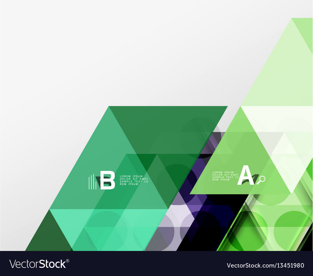 Color transparent trianlge tiles with infographic vector image