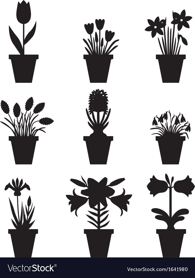 Flower Pot Black Royalty Free Vector Image Vectorstock