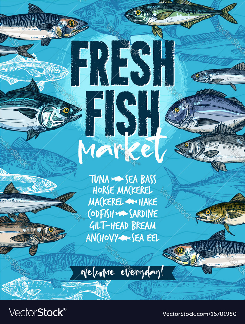 Fresh fish banner for seafood market template