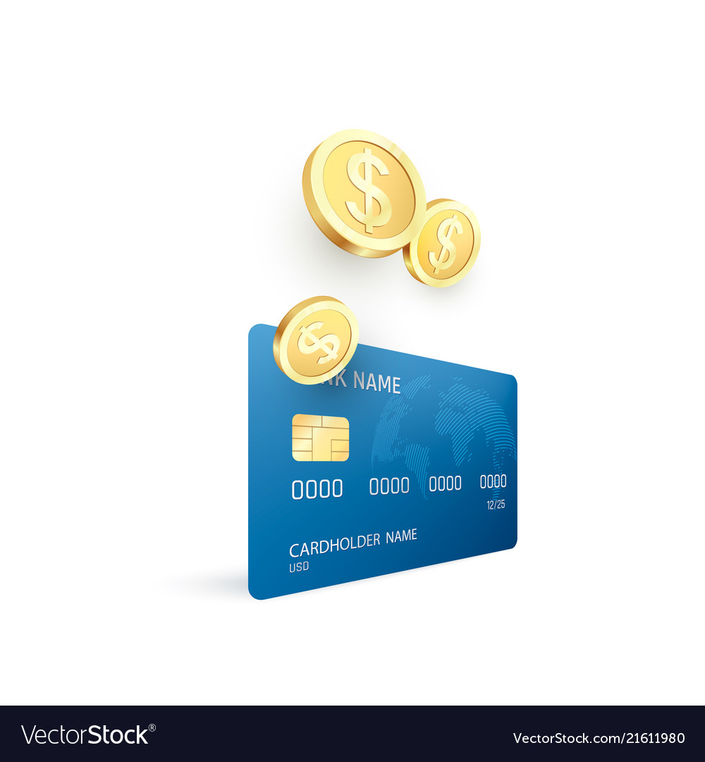 Golden coins and credit card template money goes