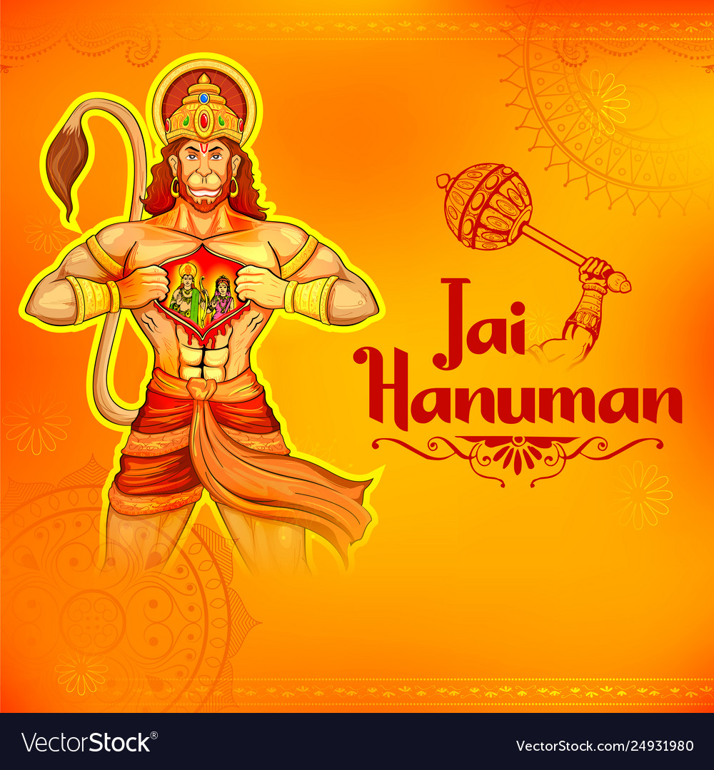Lord hanuman on abstract background for hanuman vector image