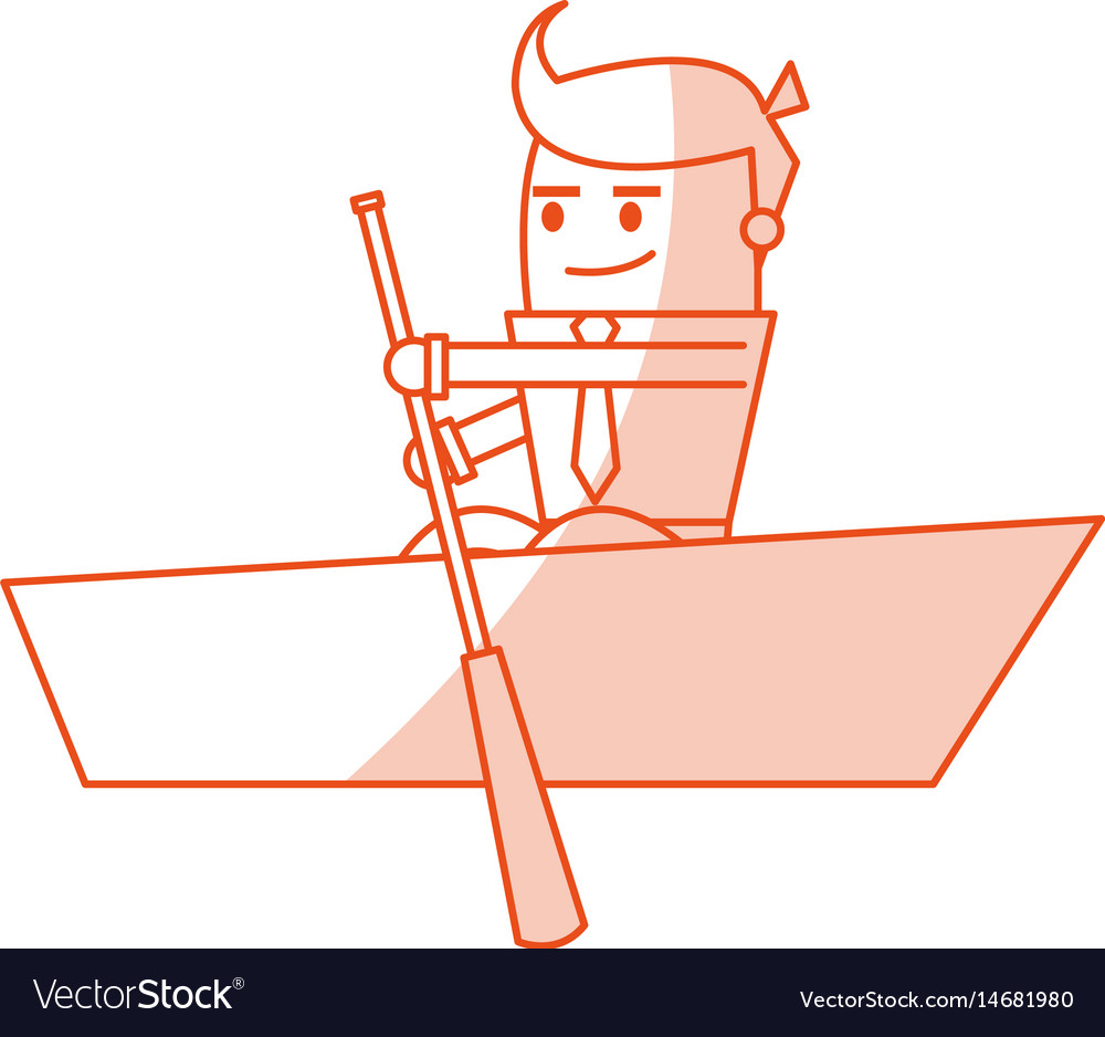 Red silhouette image cartoon business man in boat