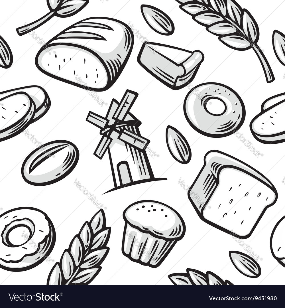 Seamless Pattern hand drawn vintage for bakery