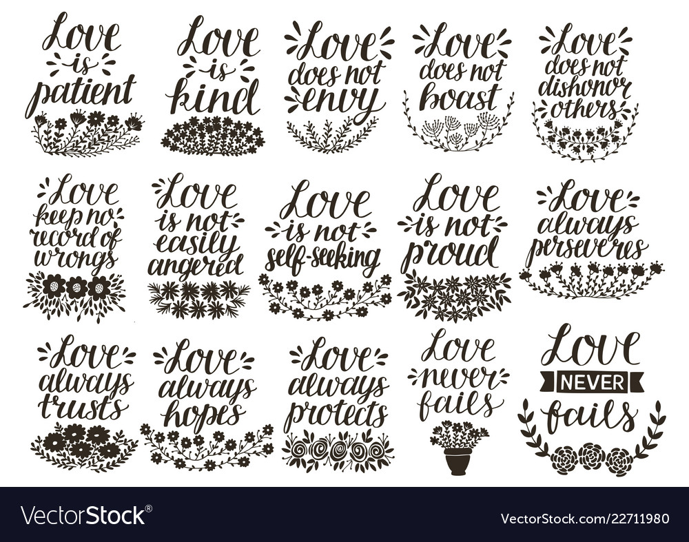 Set Of 15 Hand Lettering Quotes About Love From Vector Image