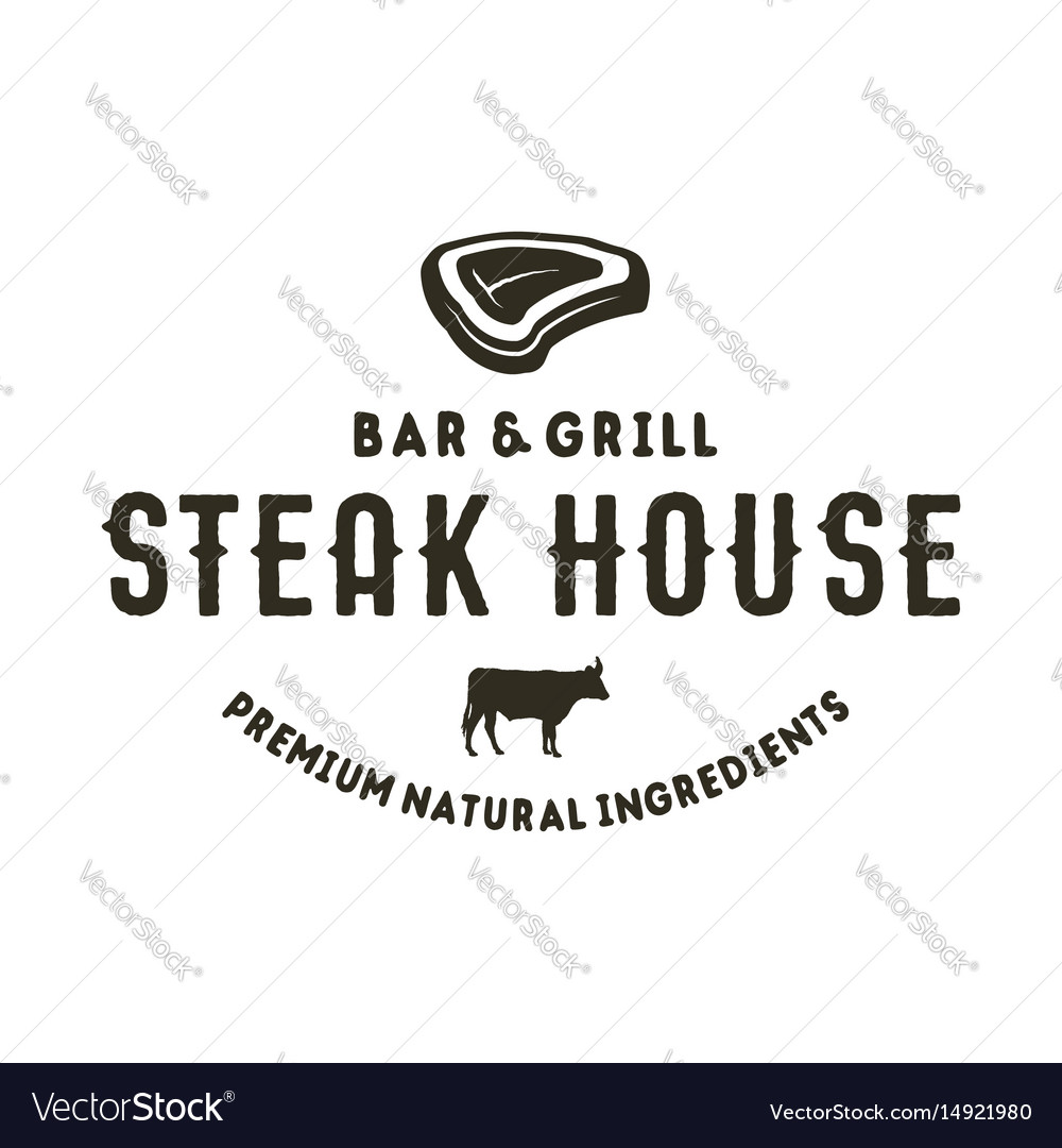 Steak house logo design bar and grill logotype vector image