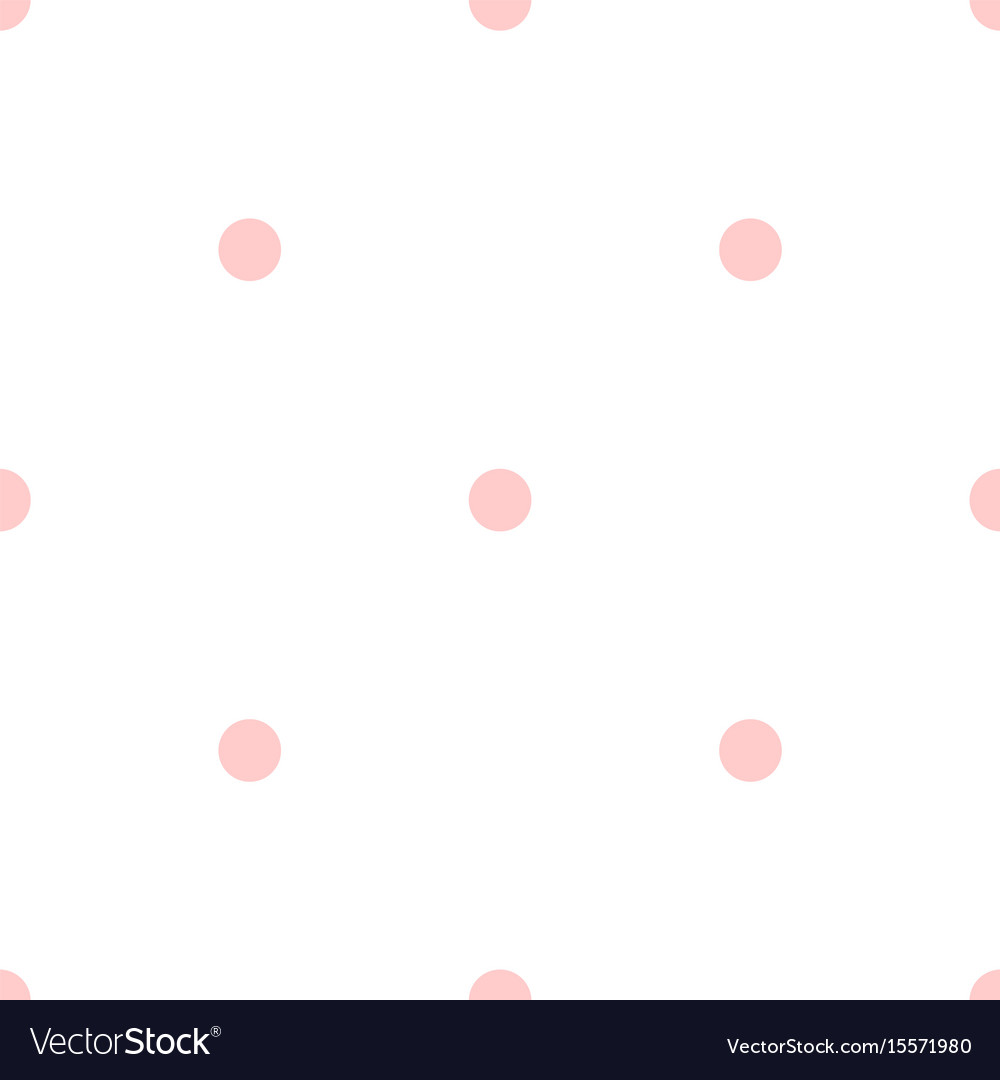 Tile pattern with pink polka dots on white vector image