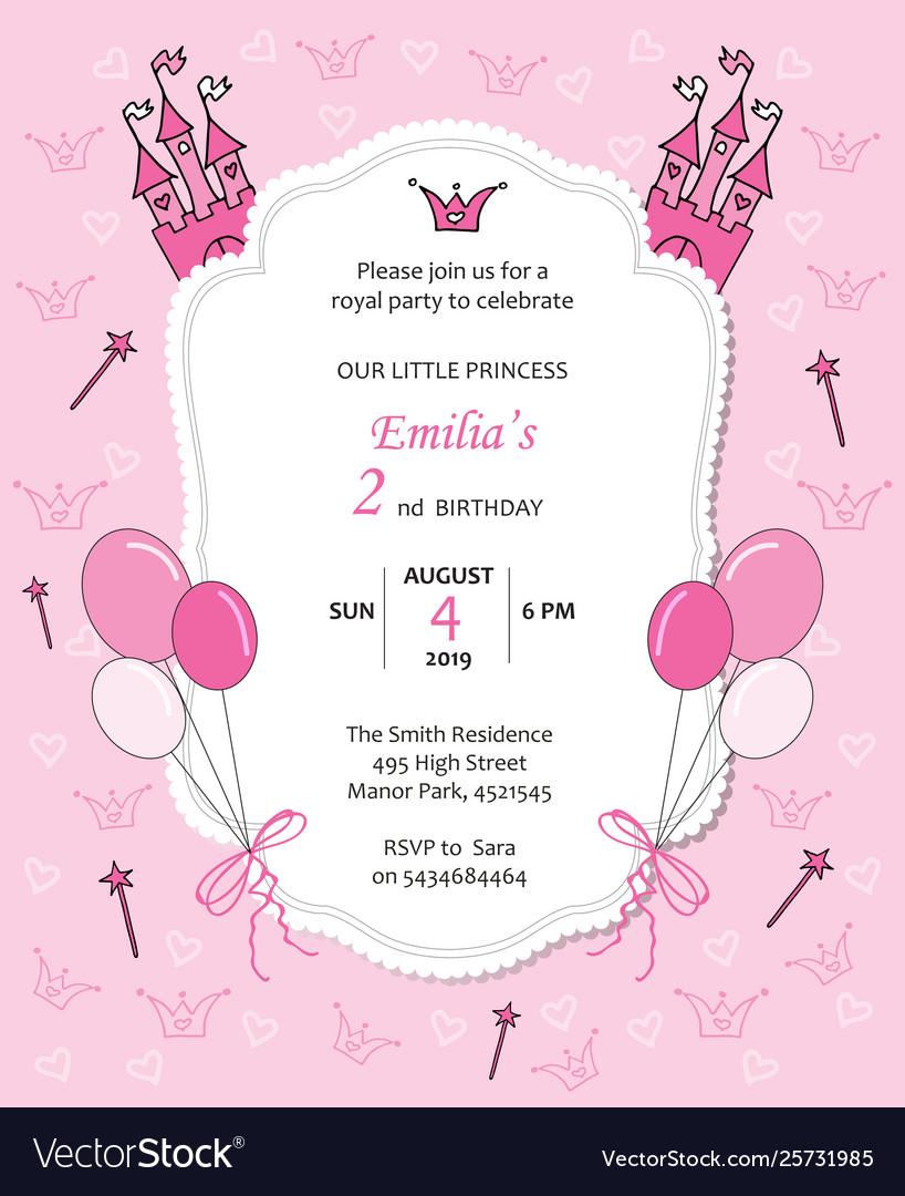 Bagirl Royal Birthday Invitation With Balloons