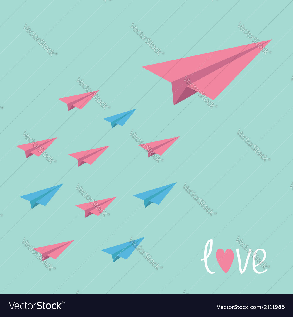 Big pink paper plane with small planes Love card
