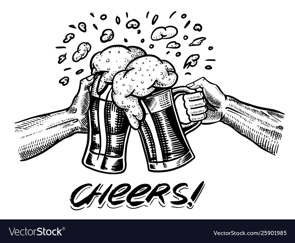 Cheers toast beer in hand vintage alcoholic