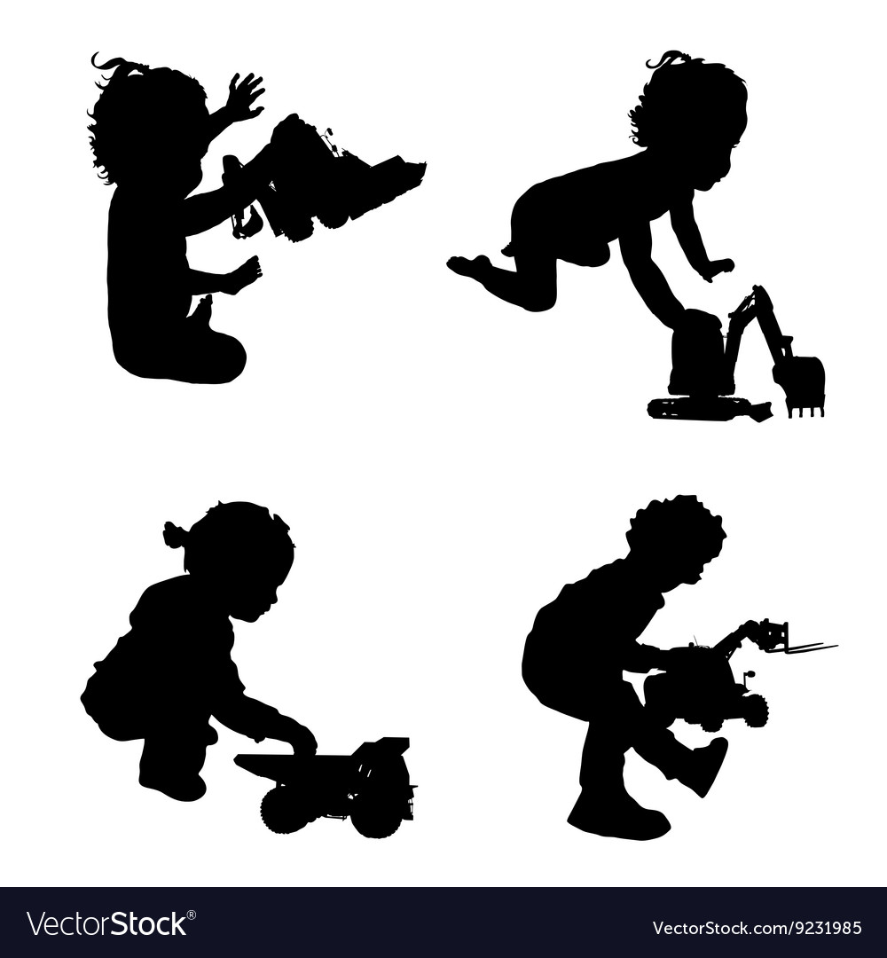 Children With Toys Silhouette Royalty Free Vector Image