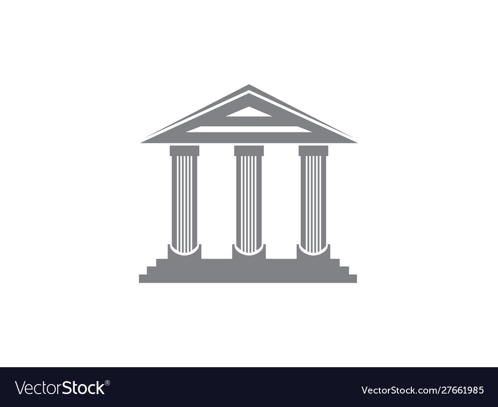 Columns roman temple building logo design vector