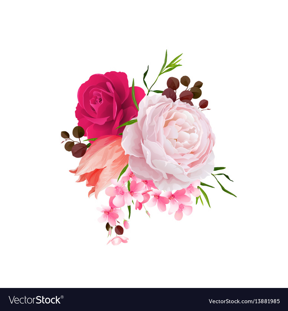 Elegance flowers bouquet color roses and tulip