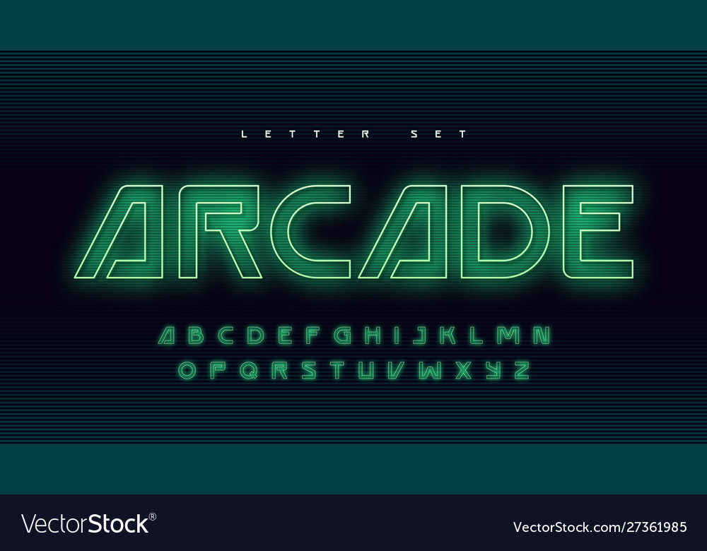Glowing holographic uppercase letter set