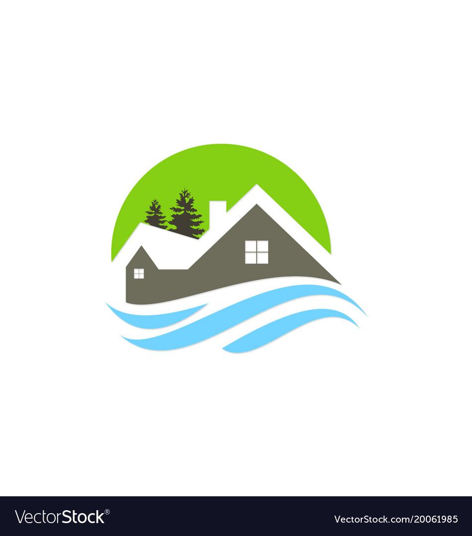 House cottage mountain logo