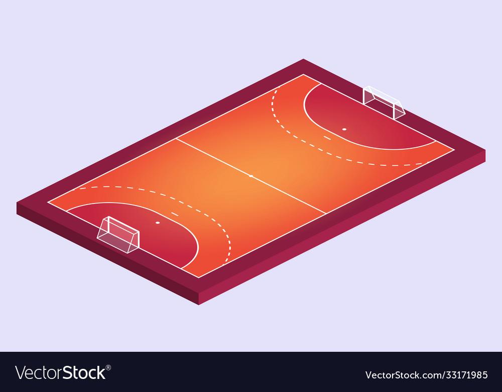 Isometric field for handball orange outline