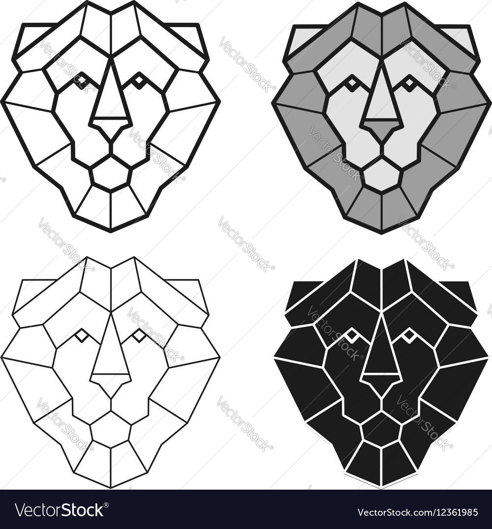547a56dc6 Lion geometric head set Royalty Free Vector Image