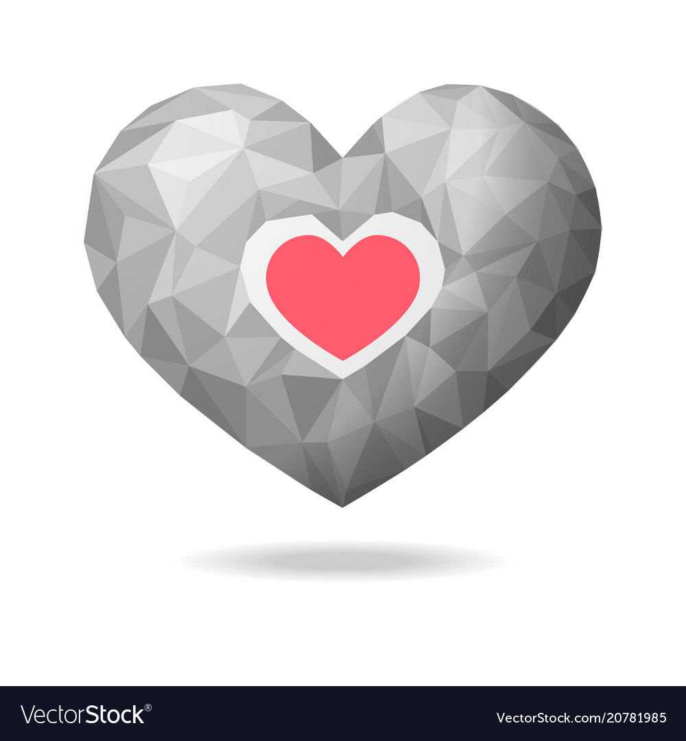 Low poly heart abstract