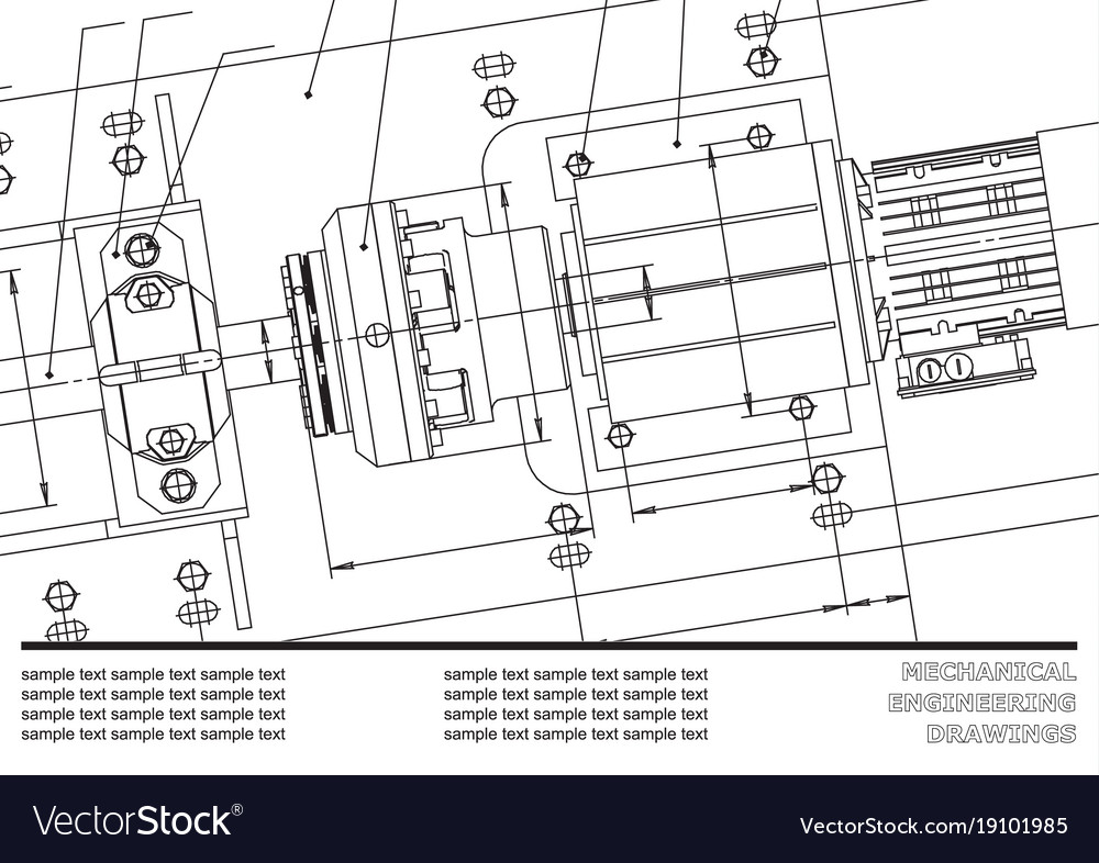 Mechanical engineering drawings cover label Vector Image