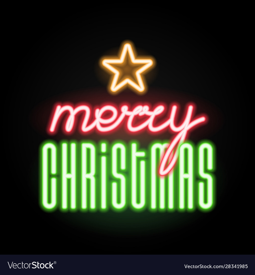 Merry christmas with star icon luminous neon