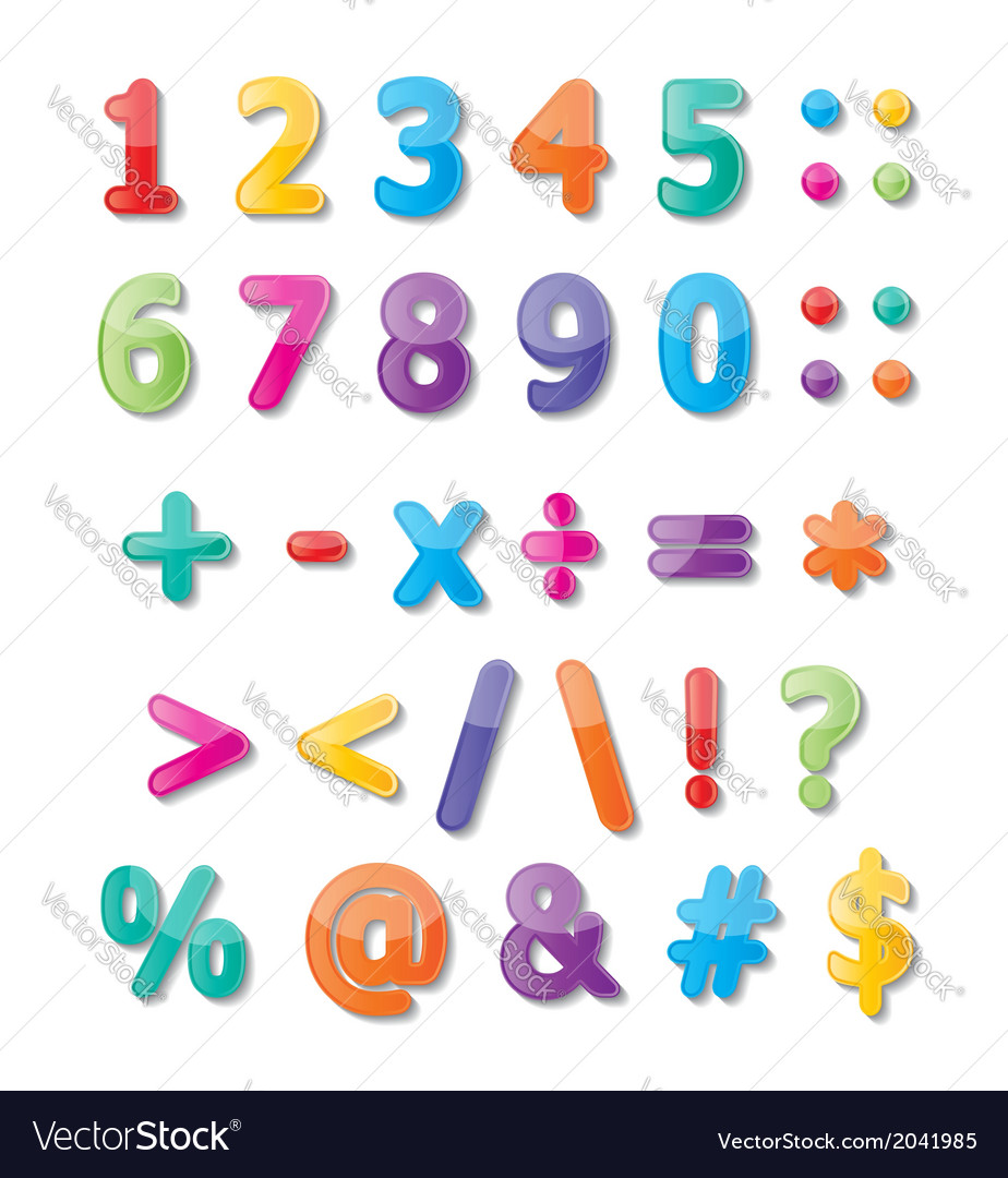 Numbers 0-9 and symbols