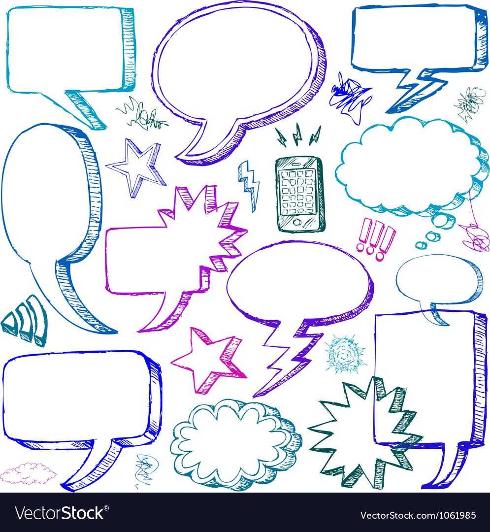 Set of Hand drawn Comical Speech Bubbles