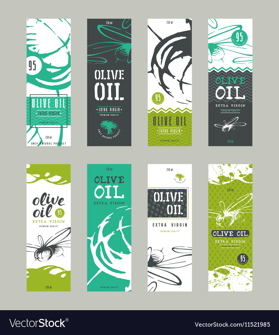 Set of templates label for olive oil Royalty Free Vector