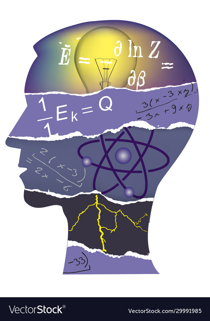 Student physics paper collage silhouette