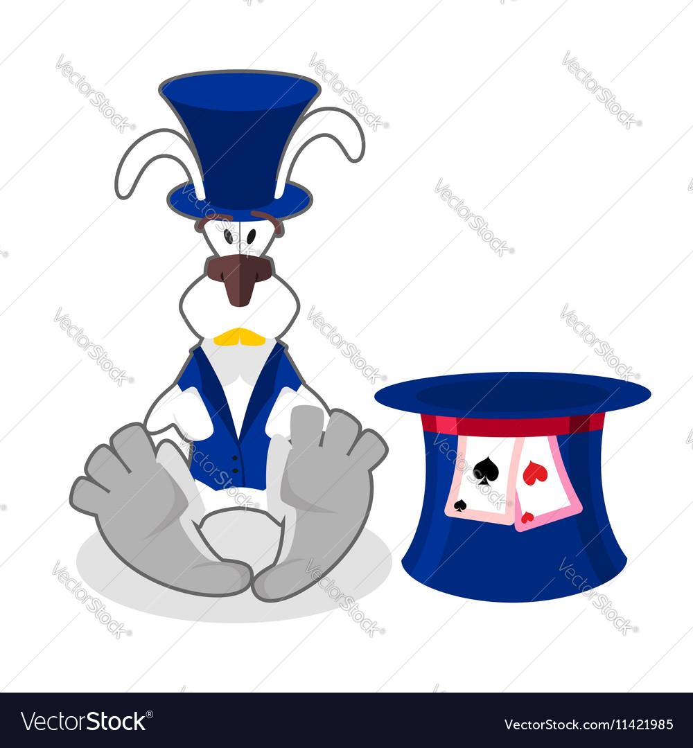 White rabbit in blue hat bunny in waistcoat
