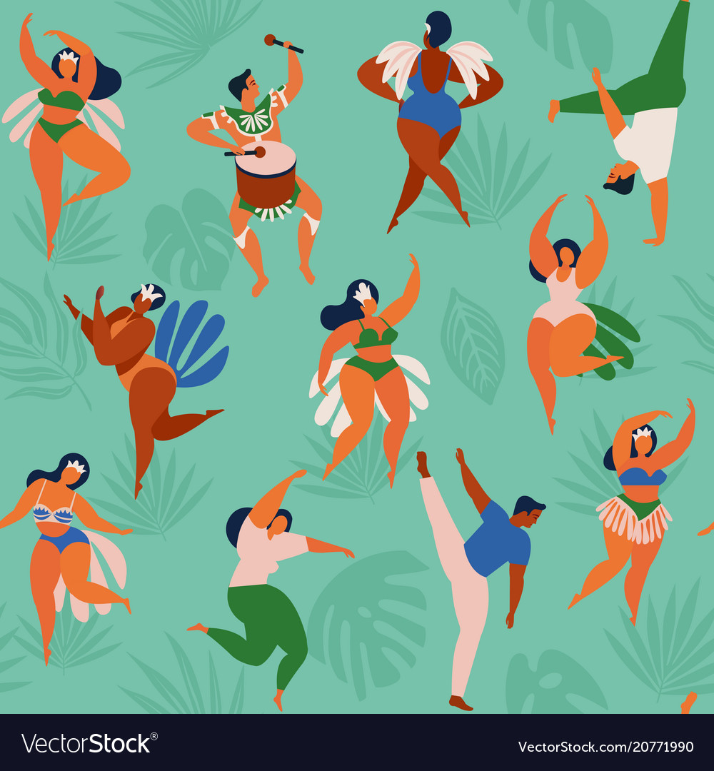 Brazil carnival seamless pattern with flat