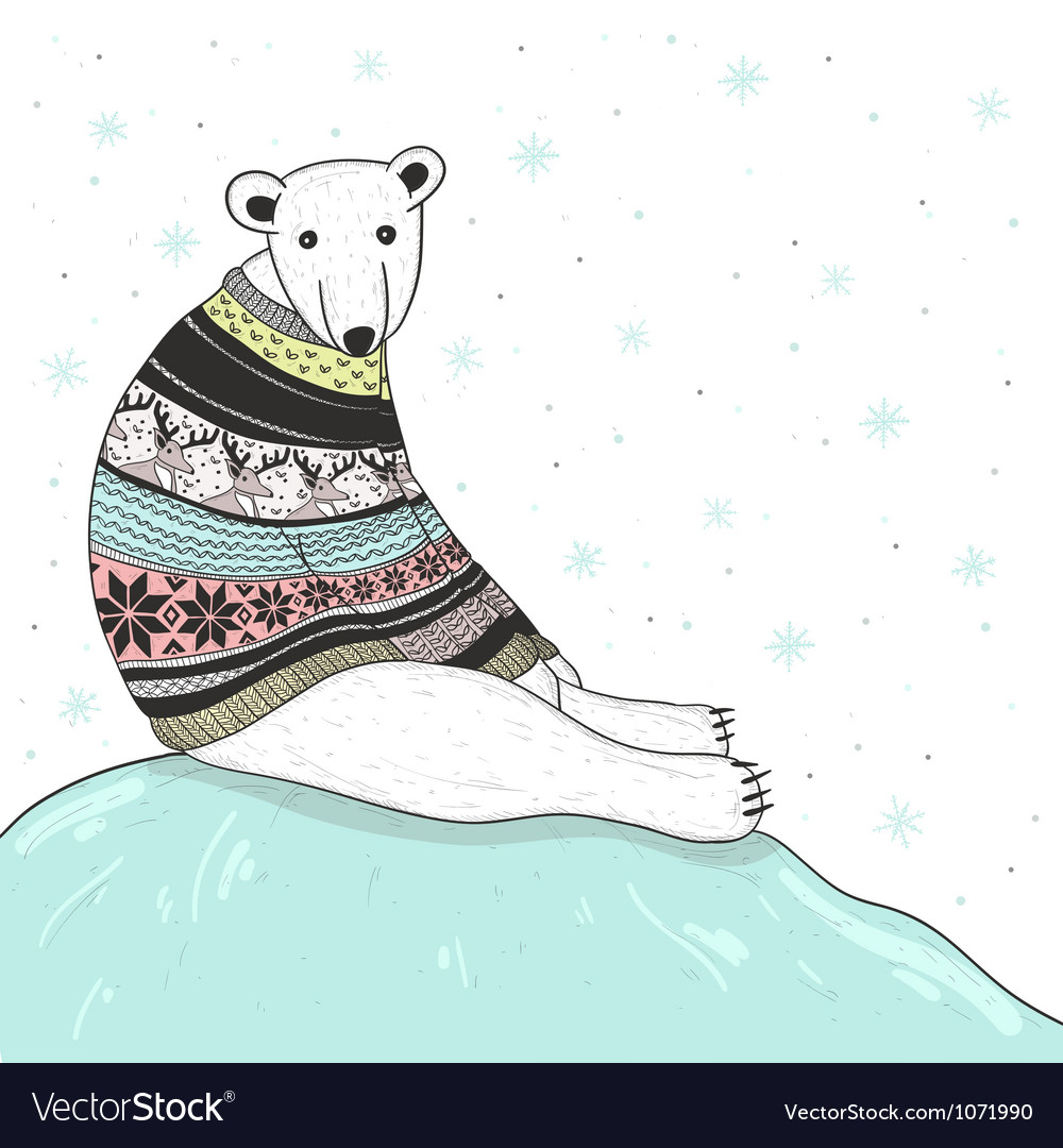Christmas card with cute polar bear