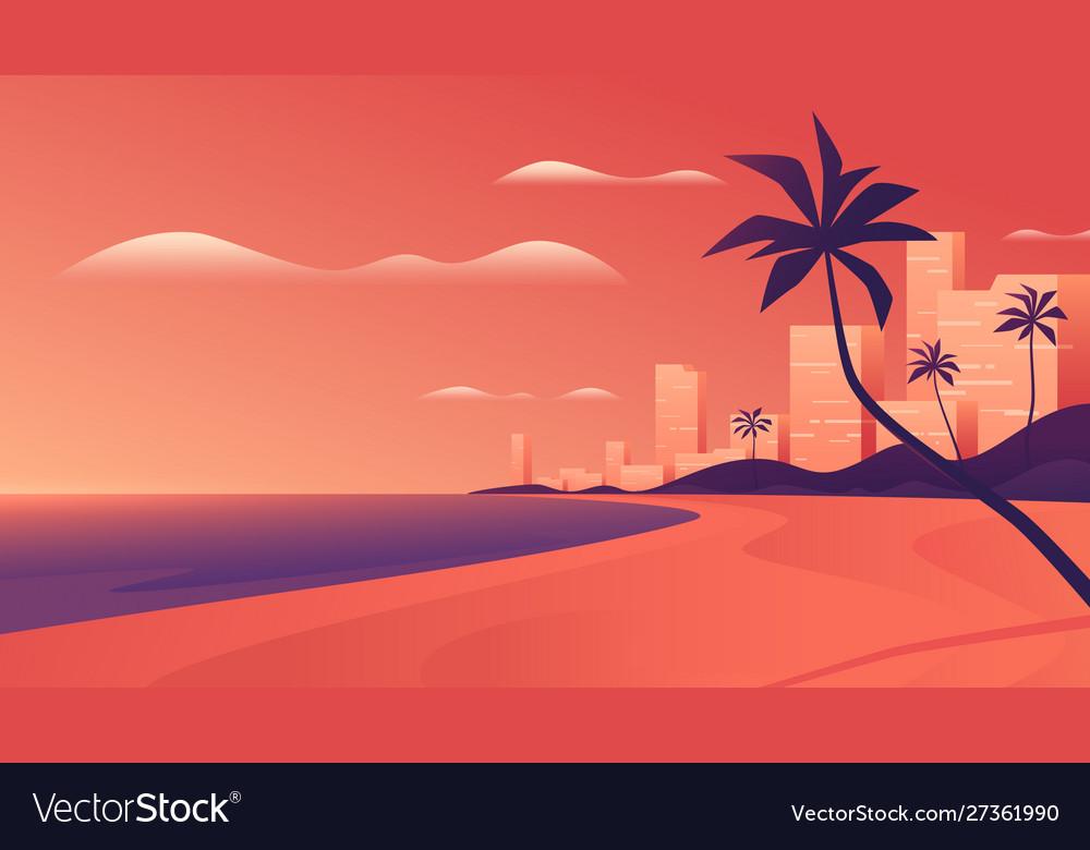 Coastal resort city at vivid sunset on ocean
