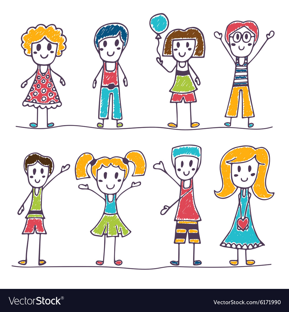 Collection of happy children Hand drawn cute