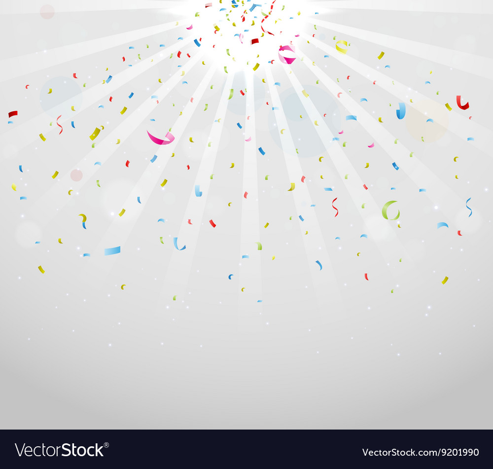Colorful sparkling confetti on gray vector image