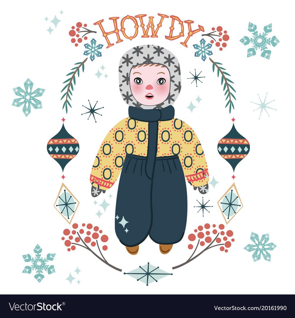 Cute winter baby boy in warm clothes