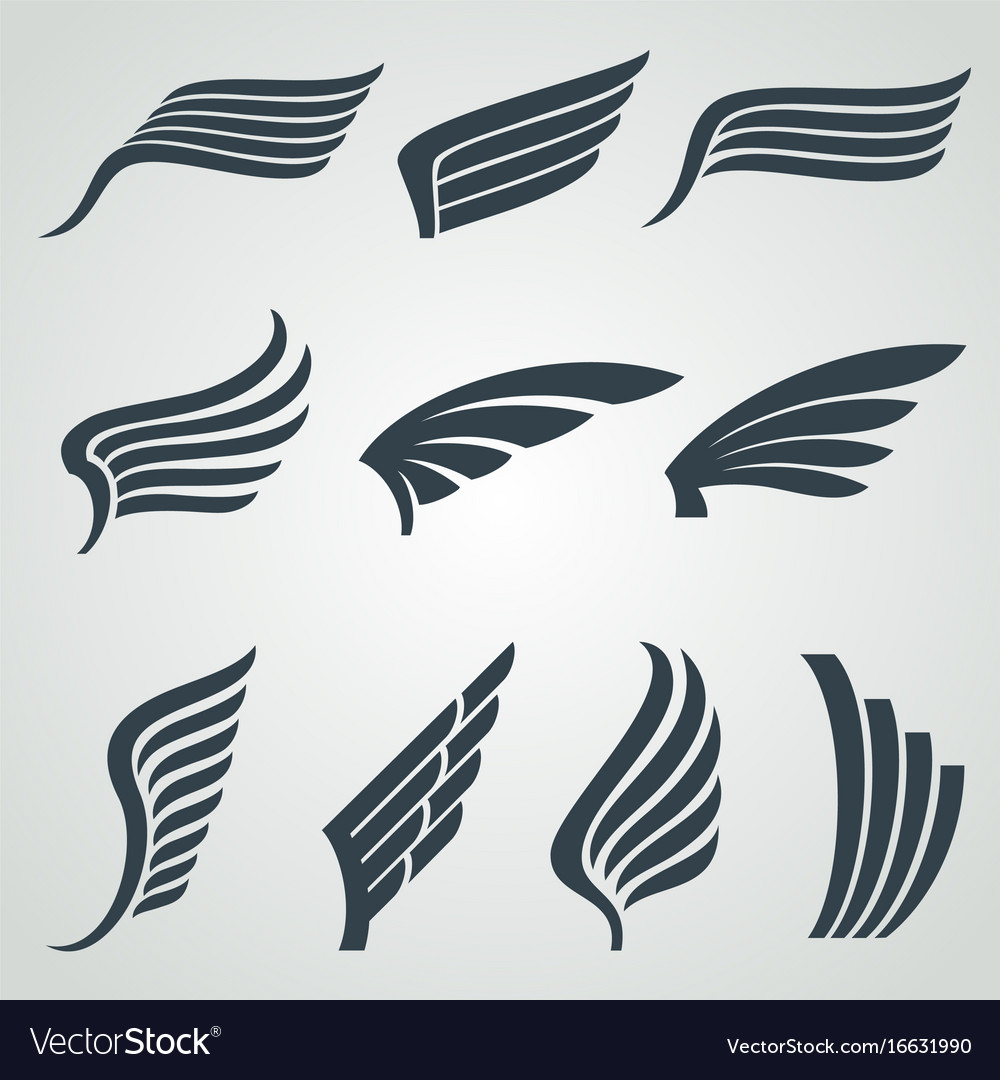 Eagle and angel wings icons flight vector image
