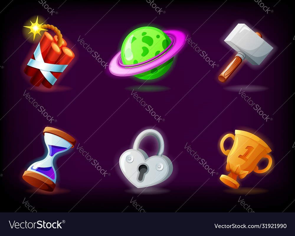 Gui video game icons set against dark background