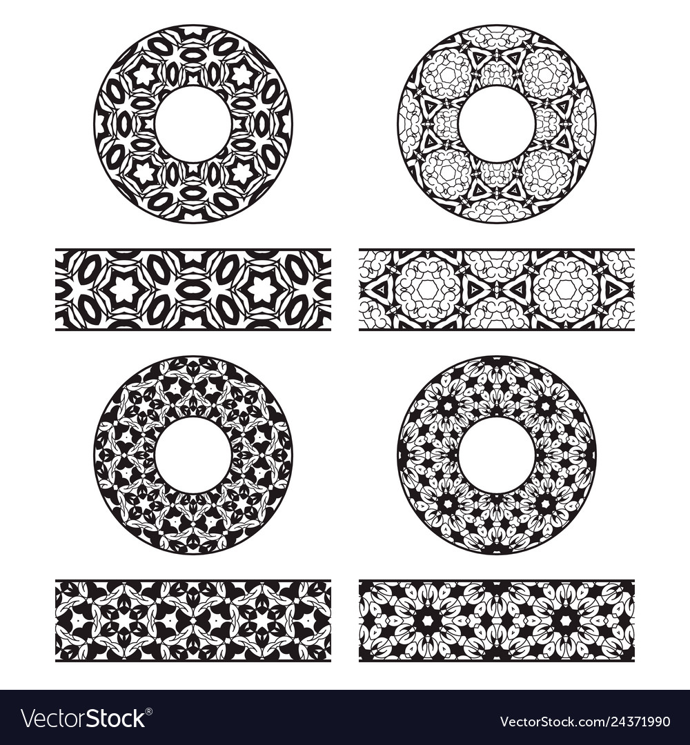 Lace brushes templates and round decorations in