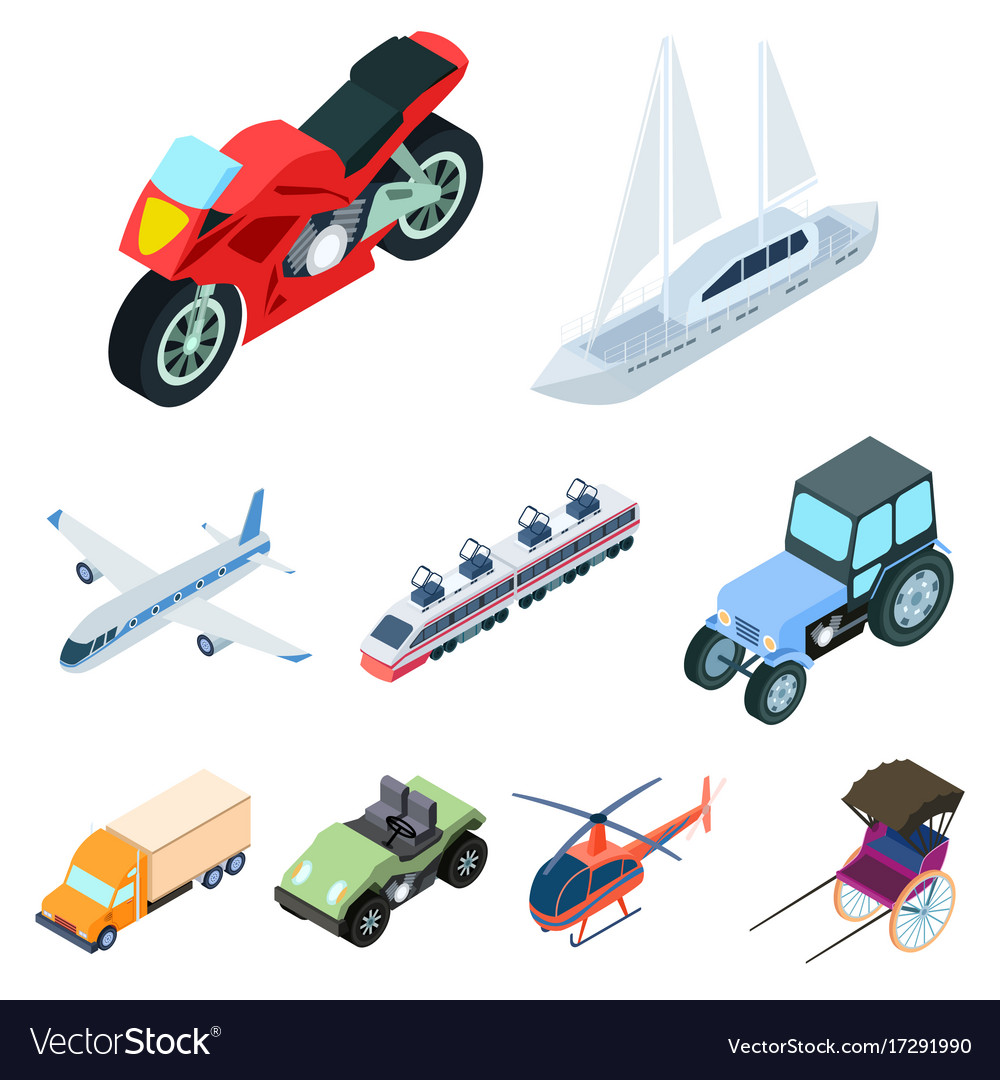 Land water air transport machines that people