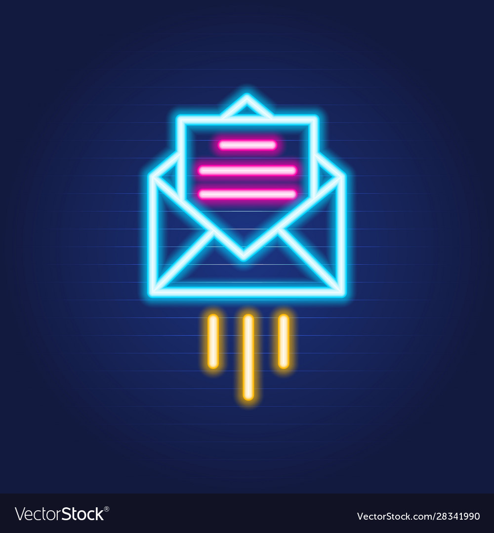 Open mail simple luminous neon outline colorful