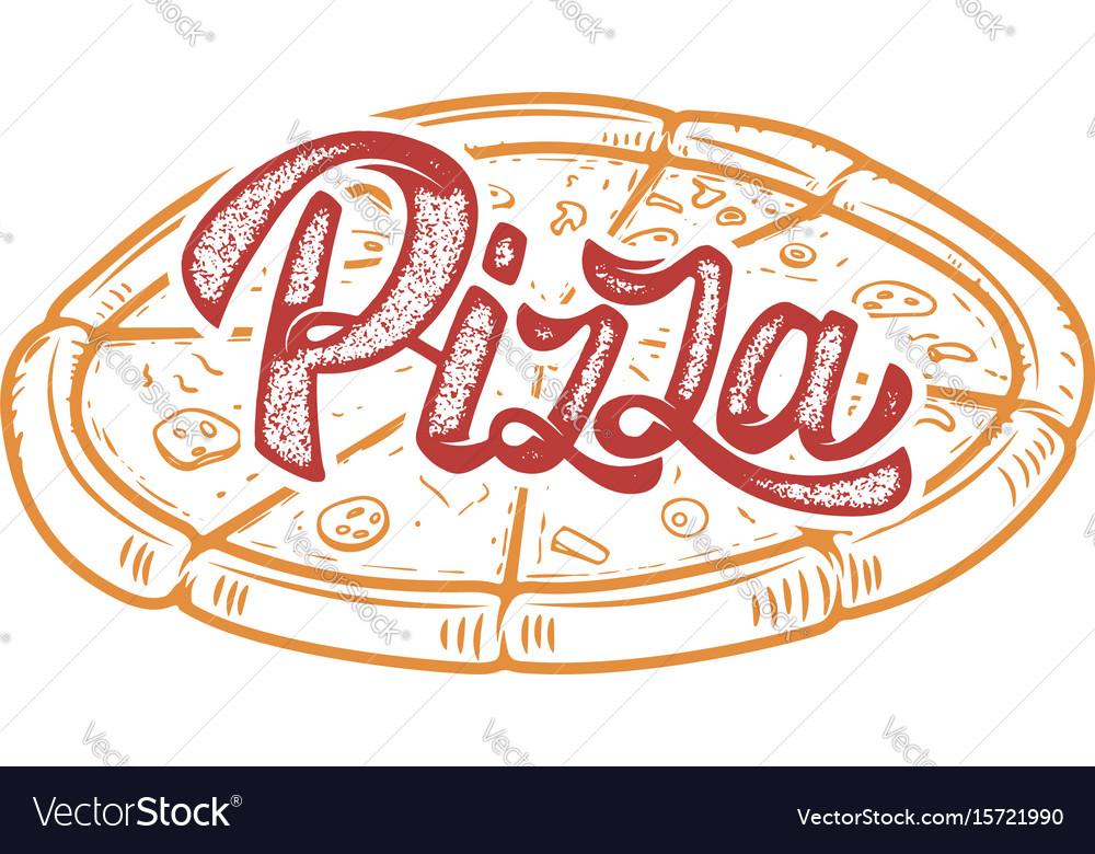 Pizza hand written lettering logo label badge