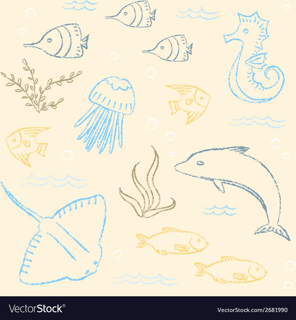 Sealife hand drawn seamless pattern