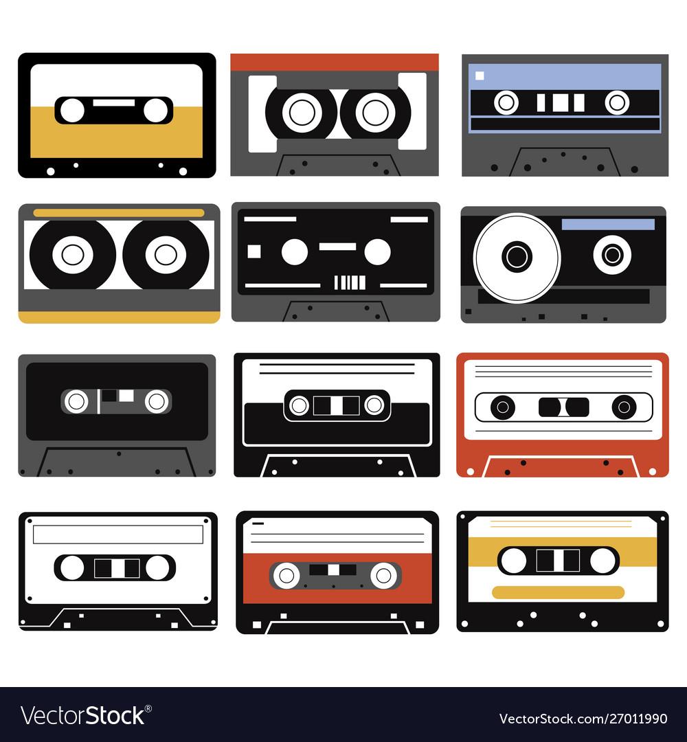 Set audio cassettes collection compact