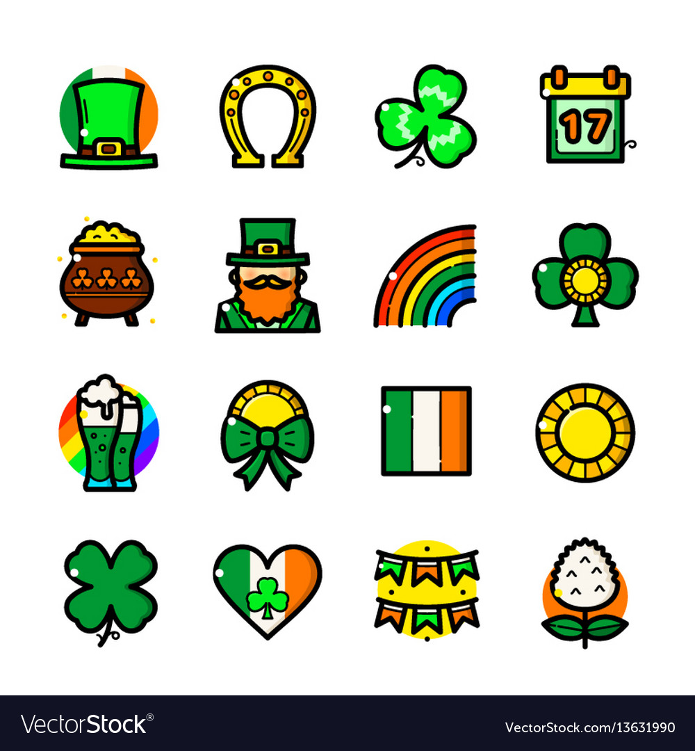 St patricks day icons set